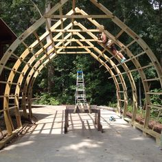 Backyard Shed Plans Arched Cabin, Wooden Greenhouses, Green House Design, Firewood Shed, Studio Shed, Roof Trusses, Storage Shed Plans, Aquaponics System, Aquaponics Diy