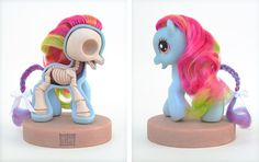 My Little Pony skeleton.  American artist Jason Freeny's remarkable, if positively menacing, anatomical sculptures of your favorite childhood toys.