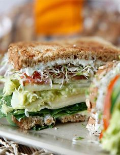 The Ultimate Veggie Sandwich. Omit cheese slices, use vegan cream cheese and vegan mayo with lemon juice in place of greek yogurt. Veggie Recipes, Lunch Recipes, Whole Food Recipes, Cooking Recipes, Bread Recipes, Cooking Tips, Veggie Food, Bean Sprout Recipes, Breakfast Recipes