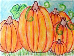 Pumpkins in chalk pastel