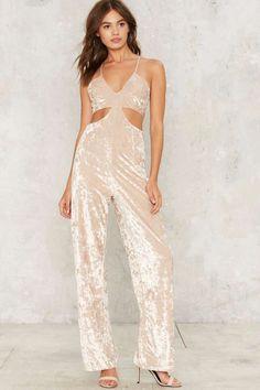 Cut Outta Here Velvet Jumpsuit - Clothes | Rompers + Jumpsuits | Metallics | Best Sellers