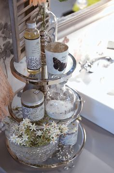 Lene Bjerre - SPRING 2013.  ANNABELLE tealight, NATURAL CARE bath/massage oil and body scrub on BELMONT etagere.