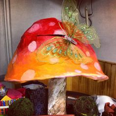 Oversized mushroom card holder for Alice in Wonderland party. The actual mushroom created for my Sweet 15