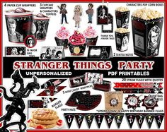 Stranger Things theme party printables and supplies. Birthday banner, cupcake wrappers, tags and more. DIGITAL FILE YOU PRINT YOURSELF - NO PHYSICAL PRODUCT WILL BE SENT This non-personalized party is an INSTANT DOWNLOAD package - the files will be downloaded to your computer via Etsy