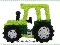 Tractor (free choice of color)- Traktor (Freie Farbwahl) Tractor (free choice of color) - Crochet Cow, Crochet Dinosaur, Crochet Snowman, Crochet Unicorn, Crochet Teddy, Cute Crochet, Appliques Au Crochet, Crochet Applique Patterns Free, Crochet Flower Patterns