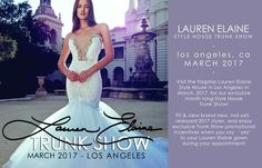 "Lauren Elaine Bridal we'll be hosting our Los Angeles Lauren Elaine Style House Trunk Show throughout the month of March 2017! Book your appointment to fit our newest styles and classic favorites- including our brand new ""Pallas"" mermaid pictured here. Visit our website to book an appointment! #LaurenElaineBridal"