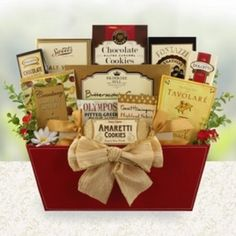 #Gourmet Glory Gift Basket Sharing a thoughtful response of #thankyou, #getwell, #happybirthday and more is easy with this #beautiful #gourmetgift. This #gourmet gift is filled with many favorites and perhaps even a few new preferences as well! #Perfect for most any #occasion.