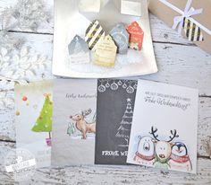Weihnachtskarten - Weihnachtskarten im Set - ein Designerstück von Feenstaub-Papeterie bei DaWanda