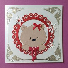 Handmade Christmas greeting card with teddy bear card topper snowflakes & bow Baby Scrapbook, Scrapbook Paper Crafts, Scrapbook Cards, Christmas Greeting Cards, Christmas Greetings, Bear Card, Animal Cards, Kids Cards, Handmade Christmas