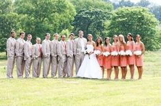coral dresses and gray suits