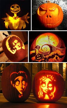 Creative Carving: 43 Bright and Beautiful Jack O Lanterns | It's a Halloween with Tim Burton Party -- let your pumpkin carving talent shine!