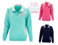 Monogrammed Pullover Quarter Zip Collar Sweatshirt /Sorority Quarter Zip