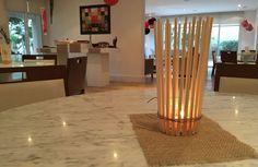 Luminária para centro de mesa oriental, feito com hashi e cordão de juta