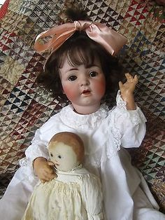 "Antique Large 27"" Franz Schmidt 1295 Bisque Breather Character Baby & Rag Doll+"
