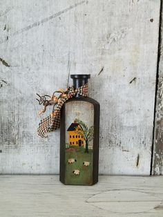 Primitive Country Scene on Vintage Bottle, Primitive Decor, Rustic Decor, Country Decor, Shelf Sitter, Colonial, Primitive House, B12 by FlatHillGoods on Etsy