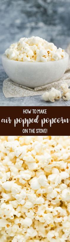 Only 83 calories! Learn how to make air popped popcorn at home with NO special equipment! how to make healthy popcorn. air popped popcorn on stove. Homemade Popcorn Recipes, Healthy Cookie Recipes, Healthy Baking, Whole Food Recipes, Snack Recipes, Cooking Recipes, Clean Recipes, Light Recipes, Cooking Ideas