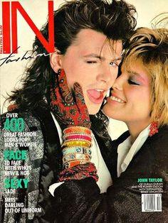 John Taylor of Duran Duran with supermodel Renée Simonsen (1985) #music #80s