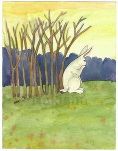 Items similar to The Rabbit Tarot - Original Art - Ten of Sticks on Etsy Original Artwork, Original Paintings, Rabbit Pictures, Tarot Card Decks, Tarot Cards, Symbolic Art, Bunny Art, Bunny Pics, Cool Artwork