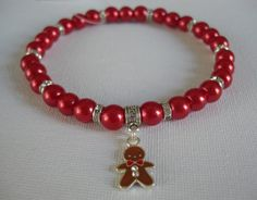 Red Glass Pearl Necklace with Austrian by LadyDaizeDogCouture
