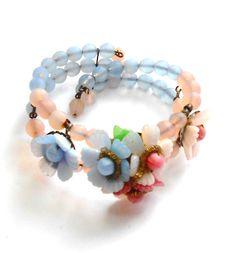 Czechoslovakian glass floral bracelet circa 1930