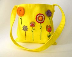 organic kids messenger bag / hope springs sunshine by SewnNatural, $70.00