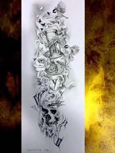 COMPO BRAS ET MANCHETTE POUR FLORIAN Skull Rose Tattoos, Skull Girl Tattoo, Girl Arm Tattoos, Forearm Sleeve Tattoos, Full Sleeve Tattoos, Dope Tattoos, Body Art Tattoos, Hand Tattoos, Clock Tattoo Design