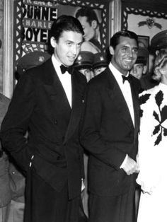 Jimmy Stewart & Cary Grant at the premiere of Irene Dunne's favorite film Love Affair, 1939