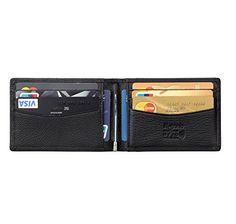 flintronic Bifold Portefeuille en Cuir, Mince RFID Blocage Porte Carte de Crédit,Pince à Billets Homme: Haute Qualité - Cuir. Bonne prise…