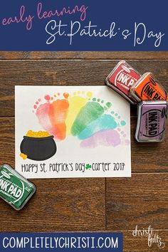 Patrick's Day Footprint Craft - This St. Patrick's Day footprint craft makes a sweet keepsake for babies, toddlers, and preschool - March Crafts, St Patrick's Day Crafts, Daycare Crafts, Classroom Crafts, Spring Crafts, Preschool Crafts, Crafts To Make, Baby Footprint Crafts, Footprint Art