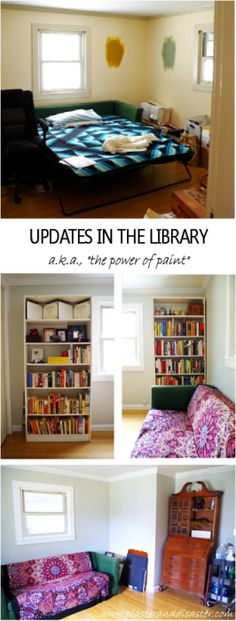 Updates-in-the-Library-the-power-of-paint-to-transform-a-room-Plaster-Disaster on A Bowl Full of Lemons Tuesday link party