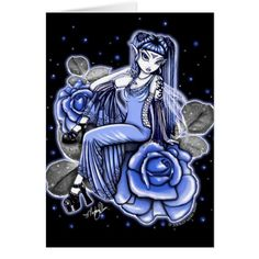 Shop Affinity Blue Rose Fairy Card created by mykajelina. Fantasy Girl, Dark Fantasy, Gothic Fairy Tattoo, Cholo Art, Fairy Pictures, Butterfly Wallpaper, Fairy Art, Purple Roses, Custom Greeting Cards