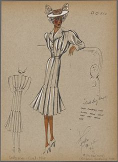 From New York Public Library Digital Collections. 1930s Fashion, Fashion Sewing, Fashion Art, Retro Fashion, Street Fashion, Fashion Sketchbook, Fashion Sketches, Vintage Patterns, Sewing Patterns