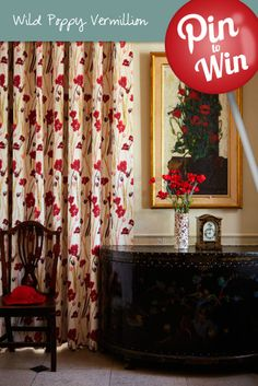 Wild Poppies Vermillion Curtains #Hillarys #PinToWin