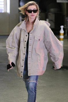 Hailey Baldwin wearing Celine Cl41468 Edge Sunglasses, Balenciaga Triple S Sneakers and Y/project Denim Project