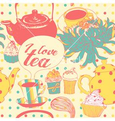 Tea-pot with flowers and pastries vector 914393 - by zolssa on VectorStock®