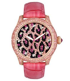 Betsey Johnson pink leopard watch, rather it be silver than gold!