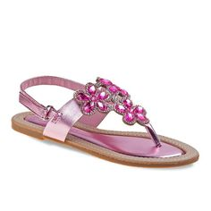 Laura Ashley Girls' Jeweled Slingback Sandals, Girl's, Size: 11, Pink
