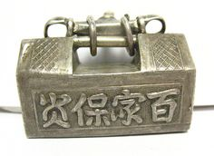 ANTIQUE STERLING SILVER LARGE BOX STYLE PENDANT ORIENTAL CHARACTERS 18.4 GRAMS | Jewelry & Watches, Vintage & Antique Jewelry, Vintage Ethnic/Regional/Tribal | eBay!
