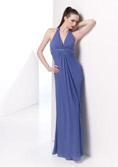 A-line Halter Neckline Beaded Underbust Gather Waist Chiffon Bridesmaid Dress-wbm0019, $189.95