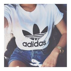 Adidas top jeans shorts gold watch fashion