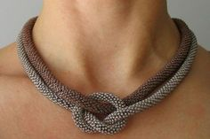 Brown Knot Necklace Bead Crochet Double Rope by EdoraJewels