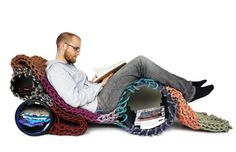 Seilfaktur Knits Old Climbing Ropes into Amazing 'SeilSchaft' Furniture Nomadic Furniture, Lounge Furniture, Upcycled Furniture, Climbing Rope, Inspired Homes, Deco, Multifunctional, Home Accessories, Hand Knitting