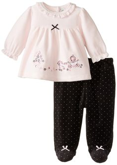 Little Me Baby Girls' 2 Piece Footed Velour Pant Set Baby Kids Clothes, Toddler Girl Outfits, Toddler Fashion, Kids Outfits, Kids Fashion, Kids Nightwear, Girls Sleepwear, Baby Girl Newborn, Baby Girls