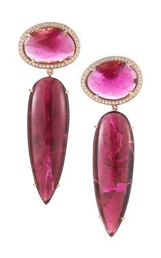 Shop Pink Tourmaline, Rubellite, Gold And Diamond Earrings by Dana Rebecca - Moda Operandi