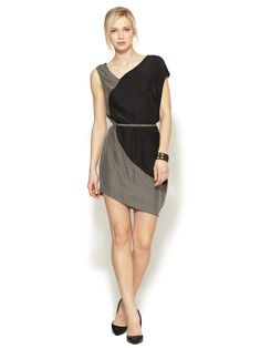Silk Asymmetrical Colorblock Tie Dress by Gold Hawk at Gilt