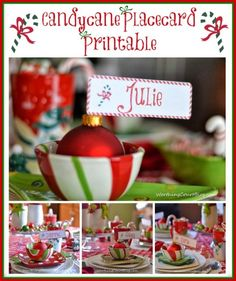 Free Candycane Placecard Printable for Christmas
