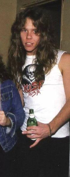 James Hetfield.  I never seen a pic of him where his hair looks dark, I like it:)