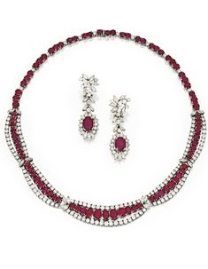Platinum, Ruby and Diamond Necklace and Pendant-Earrings | Lot | Sotheby's