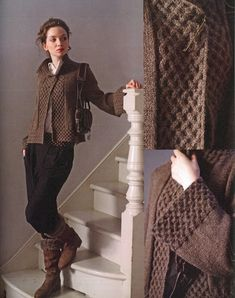 Martin Storey - Aran Knits (Wolle & Design - kreatives Stricken)Have yarn will knit this Aran Knitting Patterns, Knitting Designs, Knitting Yarn, Crochet Coat, Crochet Clothes, Smart Casual Wear, Knit Cardigan Pattern, How To Purl Knit, Knit Fashion