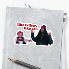 'Like Father, Like Son' Sticker by richwear Decorate Notebook, Glossier Stickers, Sell Your Art, Sticker Design, Sons, Finding Yourself, Father, My Arts, Reusable Tote Bags